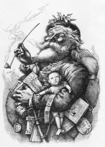 "Thomas Nast's most famous drawing, ""Merry Old Santa Claus"", from the January 1, 1881 edition of Harper's Weekly."