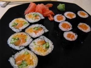 Salmon sushi dinner in Ottawa