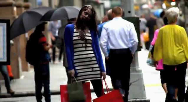 Zombie Experiment NYC - Girl 1 (Photo credit: AMC)