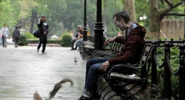 Zombie Experiment NYC - Bench 1 (Photo credit: AMC)