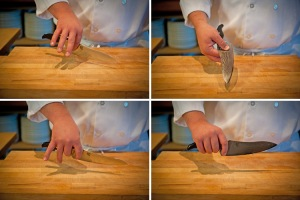 How to hold a chef's knife (Photo Credit: stellaculinary.com)