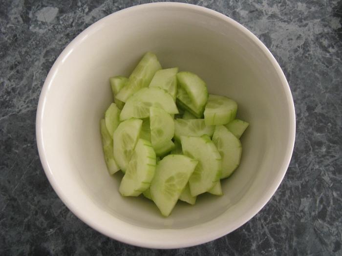 Cucumber diced in bowl