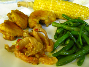 Curry chicken, corn, green beans and marinated eggplant