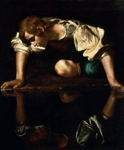 Narcissus by Caravaggio. Gazing at his own reflection.