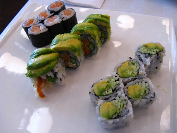 Salmon, avocado and cucumber dishes