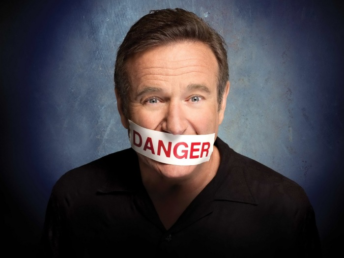 Robin Williams comedy album Weapons of Self Destruction promo shot