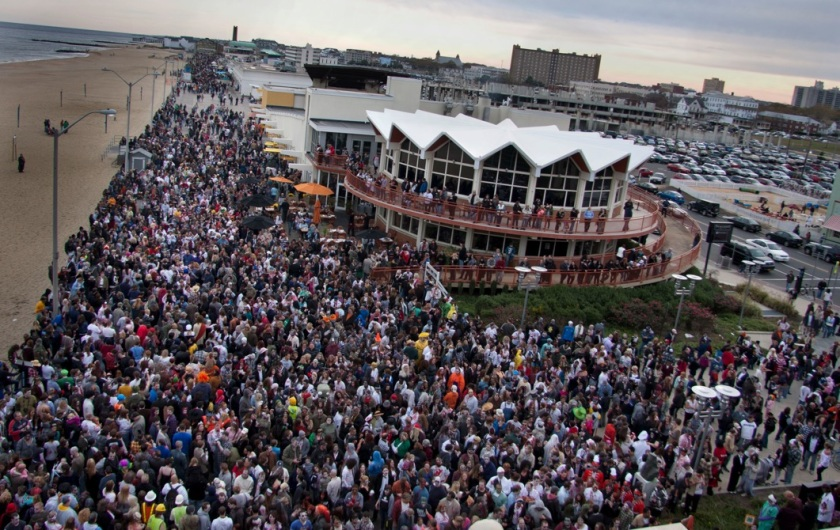 Crowd photo of the Guinness World Record™ breaking New Jersey Zombie Walk held on October 30th, 2010. 4,093+ zombies attended the event. [Photo credit:  Creative Commons Attribution-Share Alike 3.0 Unported license.]