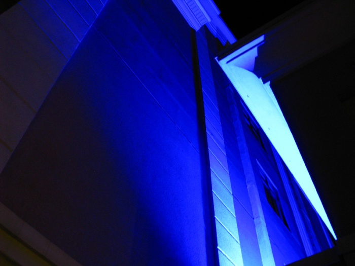 It looks like an abstract but it's really the blue lights illuminating the outside of our hotel.