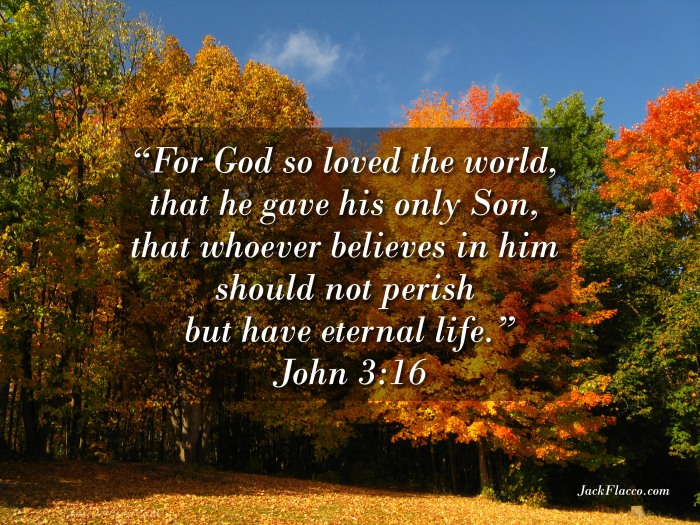 """For God so loved the world, that he gave his only Son, that whoever believes in him should not perish but have eternal life"" (John 3:16 ESV)."
